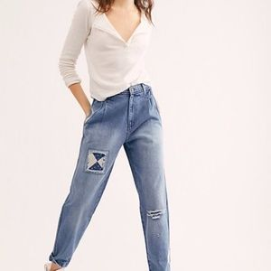 NWT FREE PEOPLE Down To Earth Patched Jeans